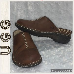 UGG • Brown Leather • Stitching Details Mules • 8
